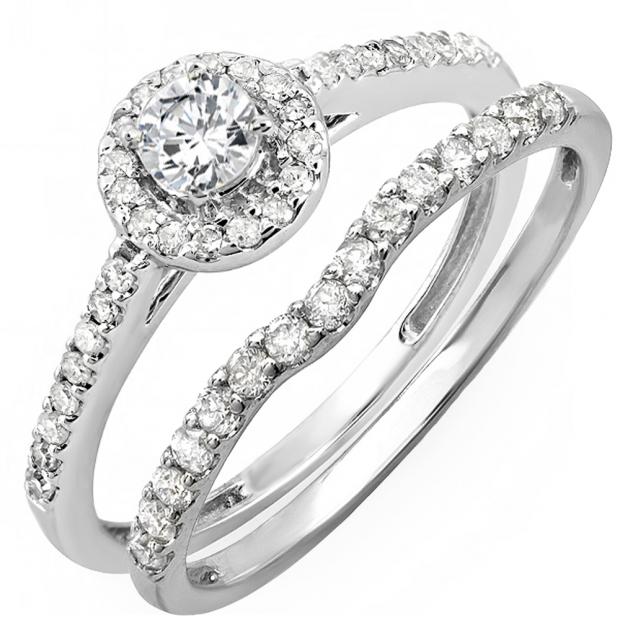 0.60 Carat (ctw) 14K White Gold Round Diamond Ladies Bridal Halo Engagement Ring With Matching Band Set