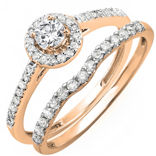 0.60 Carat (ctw) 18K Rose Gold Round Diamond Ladies Bridal Halo Engagement Ring With Matching Band Set
