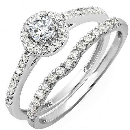 0.60 Carat (ctw) 18K White Gold Round Diamond Ladies Bridal Halo Engagement Ring With Matching Band Set