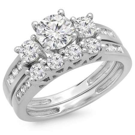 1.80 Carat (ctw) 14K White Gold Round Diamond Ladies Bridal 3 Stone Engagement Ring With Matching Band Set