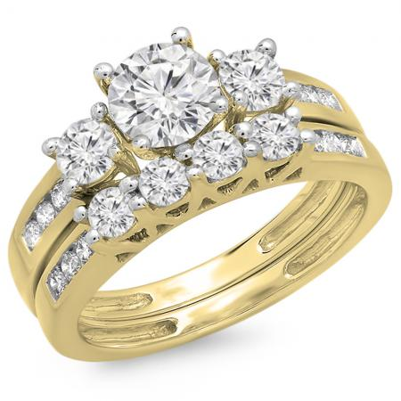 1.80 Carat (ctw) 14K Yellow Gold Round Diamond Ladies Bridal 3 Stone Engagement Ring With Matching Band Set
