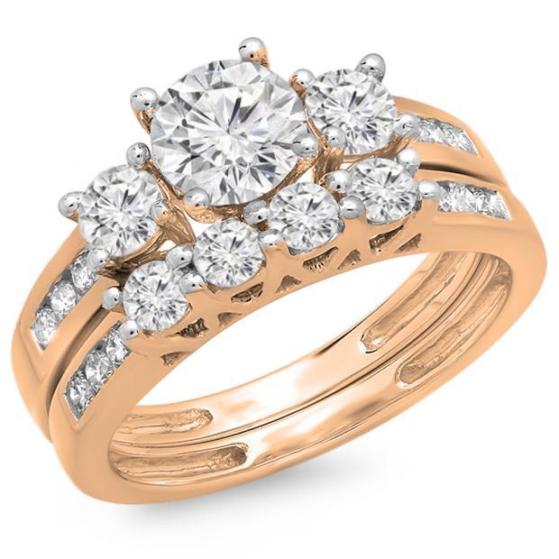1.80 Carat (ctw) 18K Rose Gold Round Diamond Ladies Bridal 3 Stone Engagement Ring With Matching Band Set