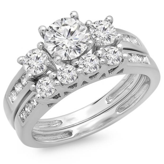 1.80 Carat (ctw) 18K White Gold Round Diamond Ladies Bridal 3 Stone Engagement Ring With Matching Band Set