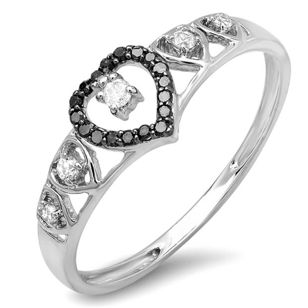 0.15 Carat (ctw) 10K White Gold Round Black & White Diamond Ladies Bridal Wave Heart Promise Ring