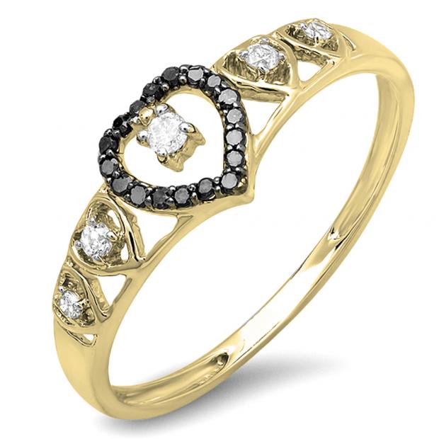 0.15 Carat (ctw) 14K Yellow Gold Round Black & White Diamond Ladies Bridal Wave Heart Promise Ring