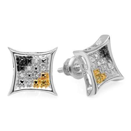 0.06 Carat (ctw) Sterling Silver Round Cut Black White & Yellow Diamond Mens Kite Shape Hip Hop Stud Earrings