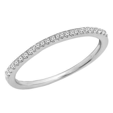 0.10 Carat (ctw) 10K White Gold Round Cut White Diamond Ladies Anniversary Wedding Stackable Band 1/10 CT