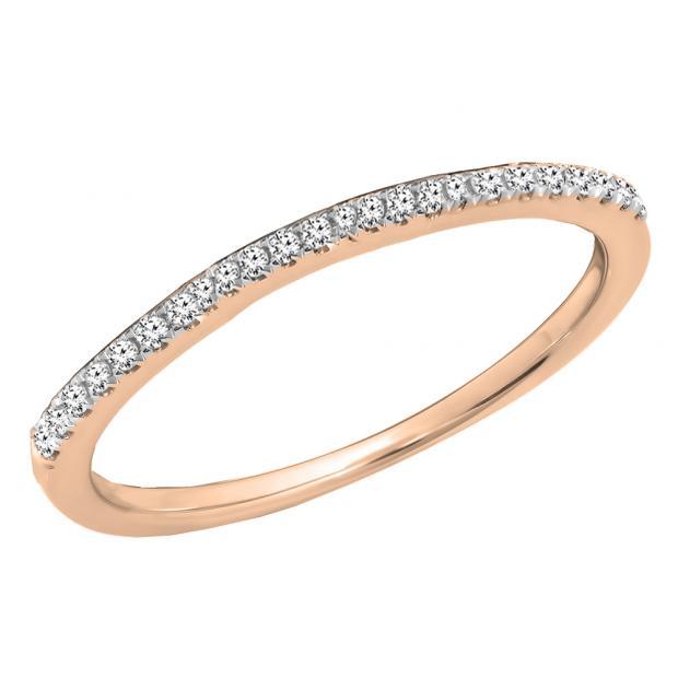 0.10 Carat (ctw) 14K Rose Gold Round Cut White Diamond Ladies Anniversary Wedding Stackable Band 1/10 CT