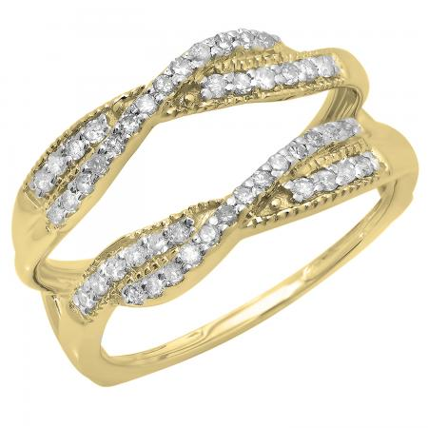 0.40 Carat (ctw) 10K Yellow Gold Round Cut Diamond Ladies Anniversary Wedding Band Swirl Enhancer Guard Double Ring