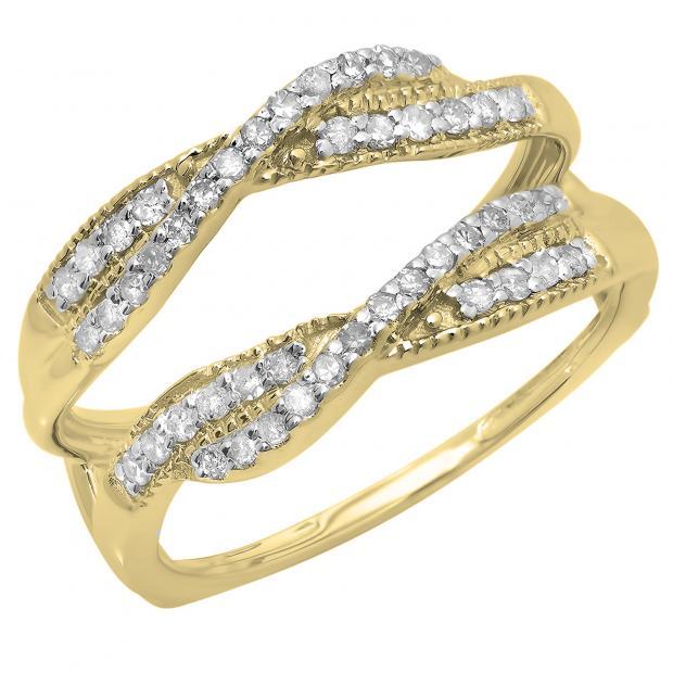 0.40 Carat (ctw) 18K Yellow Gold Round Cut Diamond Ladies Anniversary Wedding Band Swirl Enhancer Guard Double Ring