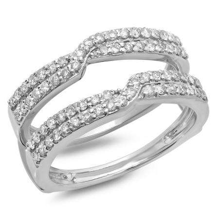 0.65 Carat (ctw) 10K White Gold Round Cut Diamond Ladies Anniversary Wedding Band Enhancer Guard Double Ring