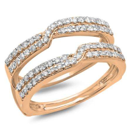 0.65 Carat (ctw) 18K Rose Gold Round Cut Diamond Ladies Anniversary Wedding Band Enhancer Guard Double Ring