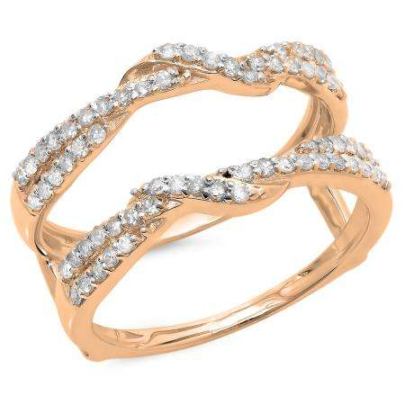 0.55 Carat (ctw) 10K Rose Gold Round Cut Diamond Ladies Anniversary Wedding Band Enhancer Swirl Guard Double Ring 1/2 CT