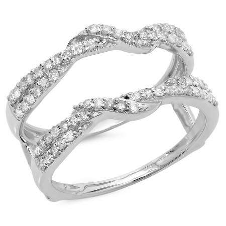 0.55 Carat (ctw) 14K White Gold Round Cut Diamond Ladies Anniversary Wedding Band Enhancer Swirl Guard Double Ring 1/2 CT