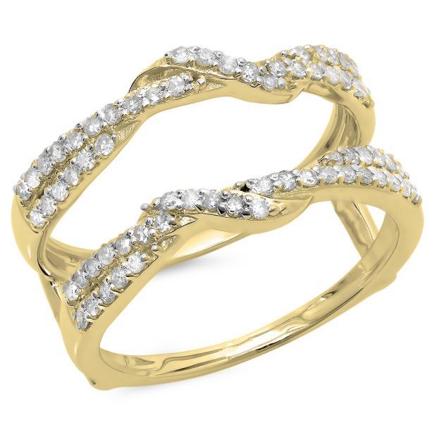 0.55 Carat (ctw) 18K Yellow Gold Round Cut Diamond Ladies Anniversary Wedding Band Enhancer Swirl Guard Double Ring 1/2 CT
