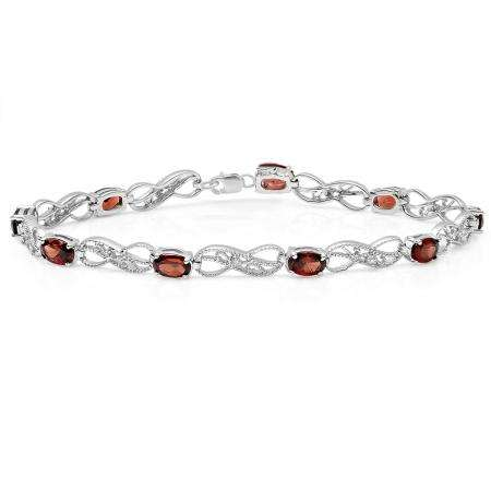 4.85 Carat (ctw) Sterling Silver Real Oval Cut Garnet & Round Cut White Diamond Ladies Infinity Link Tennis Bracelet