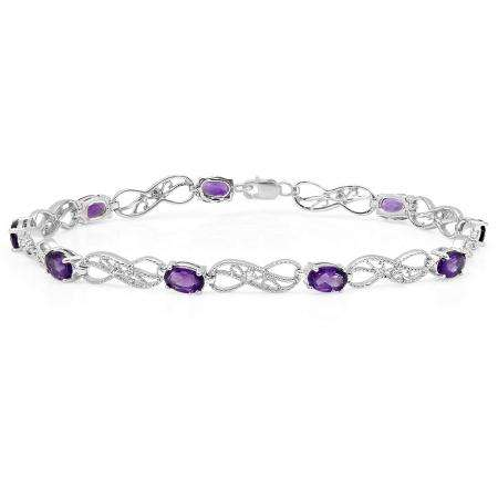 3.93 Carat (ctw) Sterling Silver Real Oval Cut Amethyst & Round Cut White Diamond Ladies Infinity Link Tennis Bracelet