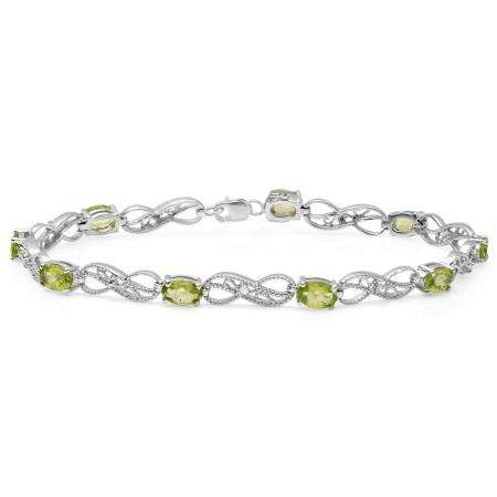 4.11 Carat (ctw) Sterling Silver Real Oval Cut Peridot & Round Cut White Diamond Ladies Infinity Link Tennis Bracelet