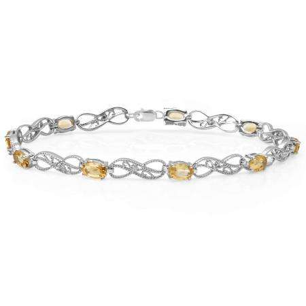 3.83 Carat (ctw) Sterling Silver Real Oval Cut Citrine & Round Cut White Diamond Ladies Infinity Link Tennis Bracelet