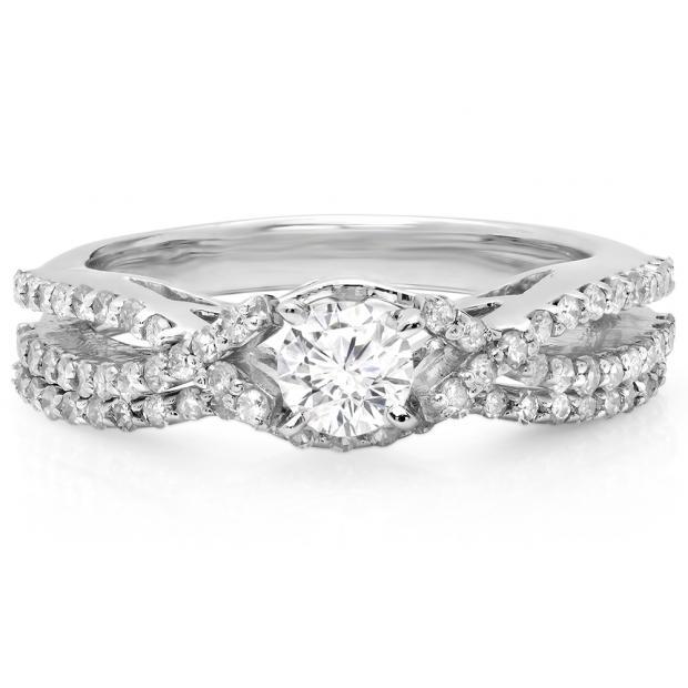 1.00 Carat (ctw) 14K White Gold Round Cut Diamond Ladies Bridal Swirl Split Shank Engagement Ring With Matching Band Set 1 CT