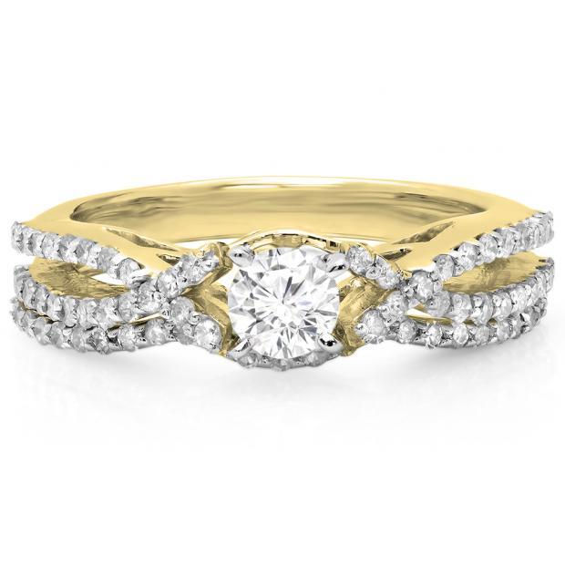 1.00 Carat (ctw) 14K Yellow Gold Round Cut Diamond Ladies Bridal Swirl Split Shank Engagement Ring With Matching Band Set 1 CT