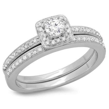 0.50 Carat (ctw) 10K White Gold Round Cut Diamond Ladies Bridal Halo Engagement Ring With Matching Band Set 1/2 CT