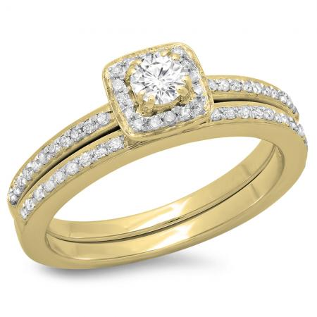 0.50 Carat (ctw) 14K Yellow Gold Round Cut Diamond Ladies Bridal Halo Engagement Ring With Matching Band Set 1/2 CT
