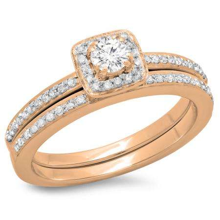 0.50 Carat (ctw) 18K Rose Gold Round Cut Diamond Ladies Bridal Halo Engagement Ring With Matching Band Set 1/2 CT