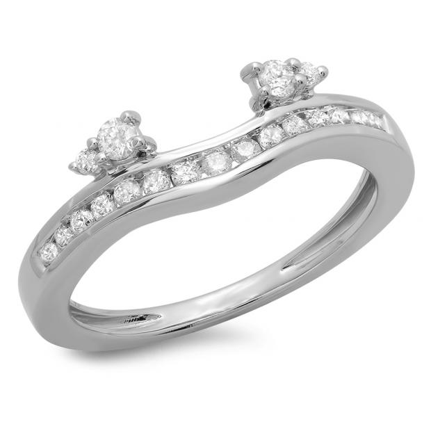 0.40 Carat (ctw) 14K White Gold Round Cut Diamond Ladies Anniversary Wedding Enhancer Guard Band