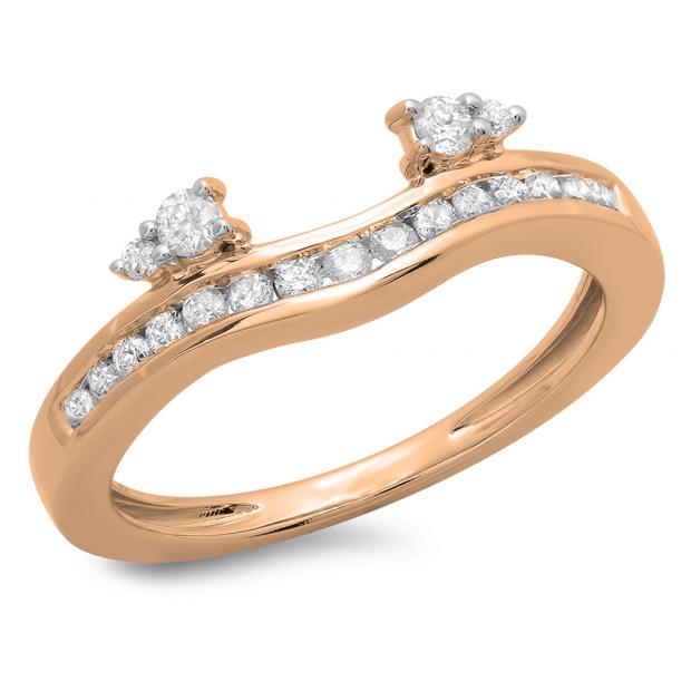 0.40 Carat (ctw) 18K Rose Gold Round Cut Diamond Ladies Anniversary Wedding Enhancer Guard Band