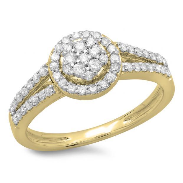 0.55 Carat (ctw) 10K Yellow Gold Round Cut Diamond Ladies Split Shank Bridal Cluster Engagement Ring 1/2 CT