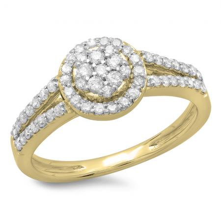 0.55 Carat (ctw) 14K Yellow Gold Round Cut Diamond Ladies Split Shank Bridal Cluster Engagement Ring 1/2 CT