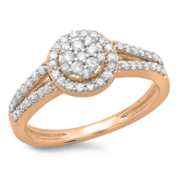 0.55 Carat (ctw) 18K Rose Gold Round Cut Diamond Ladies Split Shank Bridal Cluster Engagement Ring 1/2 CT