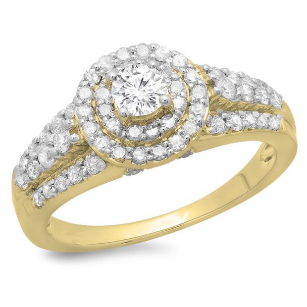 1.00 Carat (ctw) 10K Yellow Gold Round Cut Diamond Ladies Vintage Style Bridal Halo Engagement Ring 1 CT
