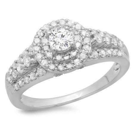 1.00 Carat (ctw) 14K White Gold Round Cut Diamond Ladies Vintage Style Bridal Halo Engagement Ring 1 CT