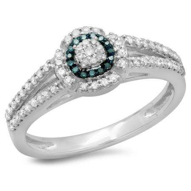 0.40 Carat (ctw) 14K White Gold Round Cut Blue & White Diamond Ladies Bridal Split Shank Halo Engagement Ring