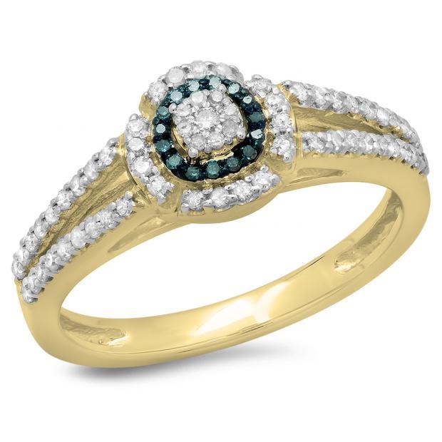 0.40 Carat (ctw) 14K Yellow Gold Round Cut Blue & White Diamond Ladies Bridal Split Shank Halo Engagement Ring