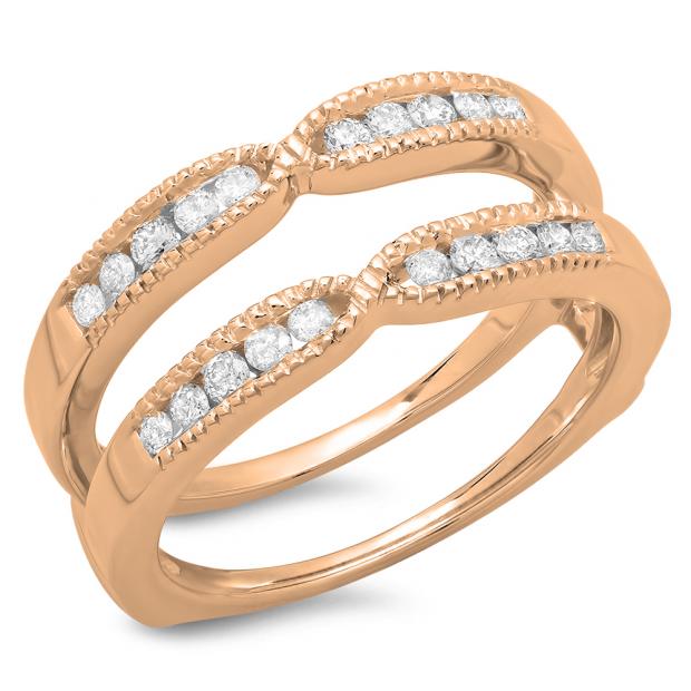 0.35 Carat (ctw) 10K Rose Gold Round Cut Diamond Ladies Millgrain Anniversary Wedding Band Guard Double Ring 1/3 CT