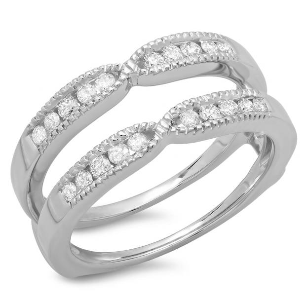 0.35 Carat (ctw) 10K White Gold Round Cut Diamond Ladies Millgrain Anniversary Wedding Band Guard Double Ring 1/3 CT