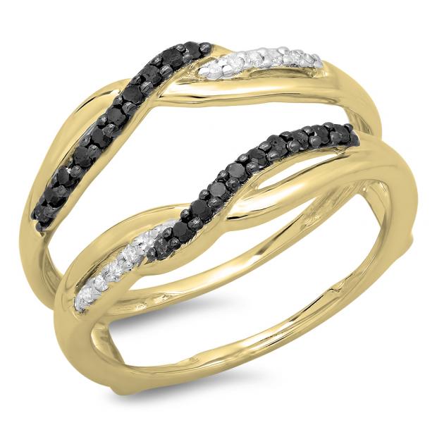 0.20 Carat (ctw) 10K Yellow Gold Round Cut Black & White Diamond Ladies Anniversary Wedding Band Swirl Guard Double Ring 1/5 CT
