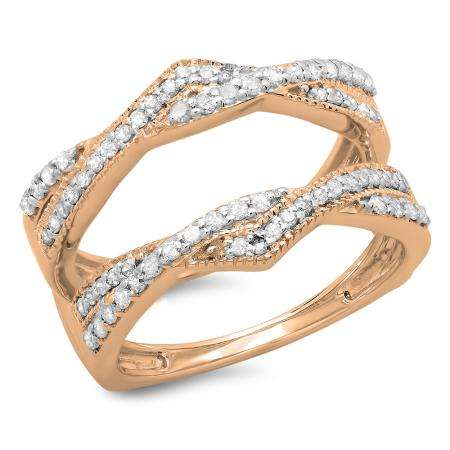 0.45 Carat (ctw) 18K Rose Gold Round Cut Diamond Ladies Anniversary Wedding Band Swirl Enhancer Guard Double Ring 1/2 CT