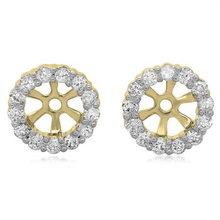 0.50 Carat (ctw) 14K Yellow Gold Round Cut Diamond Cluster Style Removable Jackets For Stud Earrings 1/2 CT