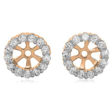 0.50 Carat (ctw) 18K Rose Gold Round Cut Diamond Cluster Style Removable Jackets For Stud Earrings 1/2 CT