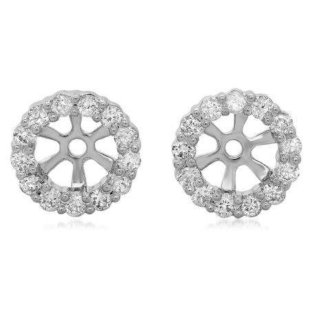 0.50 Carat (ctw) 18K White Gold Round Cut Diamond Cluster Style Removable Jackets For Stud Earrings 1/2 CT