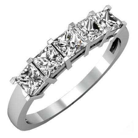 1.00 Carat (ctw) 10k White Gold Princess Cut White Diamond Ladies 5 Stone Bridal Wedding Band Anniversary Ring 1 CT