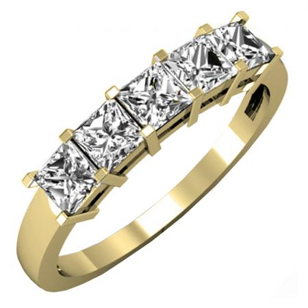 1.00 Carat (ctw) 14k Yellow Gold Princess Cut White Diamond Ladies 5 Stone Bridal Wedding Band Anniversary Ring 1 CT
