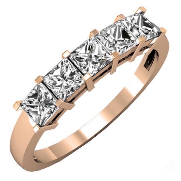 1.00 Carat (ctw) 18k Rose Gold Princess Cut White Diamond Ladies 5 Stone Bridal Wedding Band Anniversary Ring 1 CT