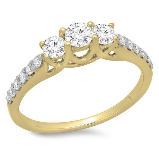 0.75 Carat (ctw) 10K Yellow Gold Round Cut Diamond Ladies Bridal 3 Stone Engagement Ring 3/4 CT