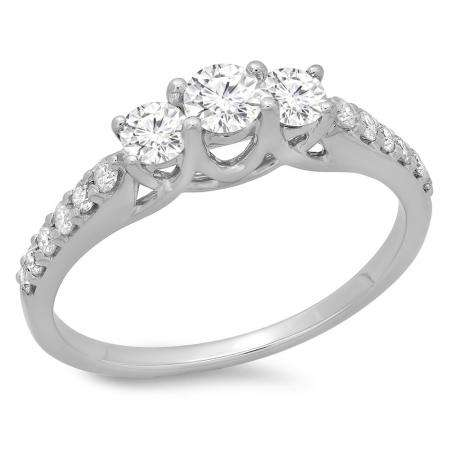 0.75 Carat (ctw) 18K White Gold Round Cut Diamond Ladies Bridal 3 Stone Engagement Ring 3/4 CT