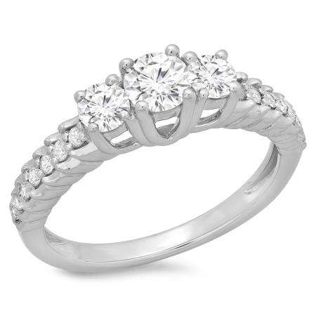 1.00 Carat (ctw) 10K White Gold Round Cut Diamond Ladies Bridal 3 Stone Engagement Ring 1 CT